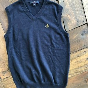 Brooks brothers fleece vest sz large navy 100% cot